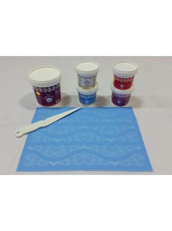 Cake Lace Starter Kit 1 ( Cake Lace Mix or Premix + Spreading Knife + Cake Lace Mats)