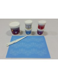 Cake Lace Starter Kit 21  ( Cake Lace Mix or Premix + Spreading Knife + Cake Lace Mats)