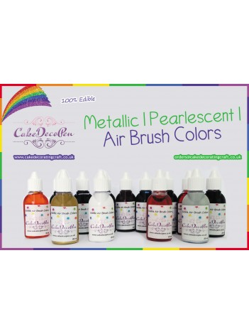 Pistachio   Air Brush Colors   Black with Pearlised Gold Luster Gloss 20 ml   Water Based